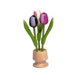 3 houten tulp op een voet in de kleur donker paars-paars-wit rose