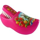 Brush clogs pink with Dutch motif.