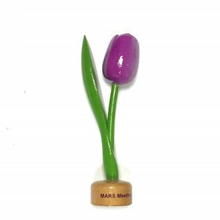 wooden tulip with logo on base in various colors