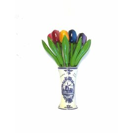 large wooden tulips in a Delft blue vase with logo