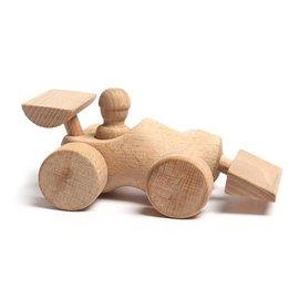 Houten speelgoed klompje uitgevoerd als race auto