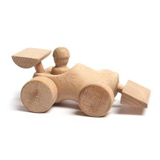 Houten speelgoed klompje uitgevoerd als raceauto