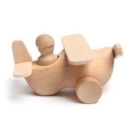 Houten speelgoed klompje uitgevoerd als vliegtuig