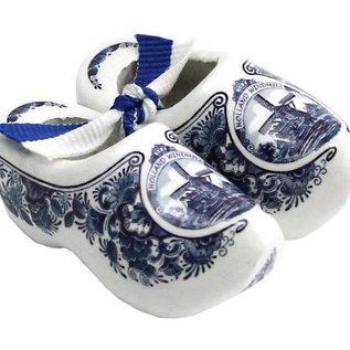 Souvenirs holzschuhe Delfter Blau 10cm mit Blumen und einer Windmühle