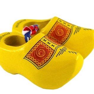 gele souvenirs klompjes 6 cm met boerenprint
