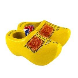 gele souvenirs klompjes 10 cm met boerenprint