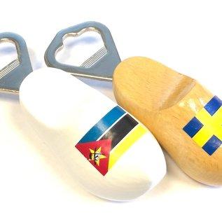Clog bottle opener with flag