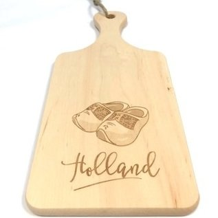 cutting board with image of wooden clogs