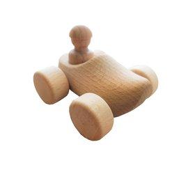 houten speelgoed klompje uitgevoerd als auto