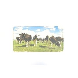 Aluminum sign with an image of cows