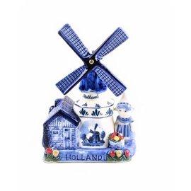 Delfts blauwe muziekmolen boerin Holland 16 cm