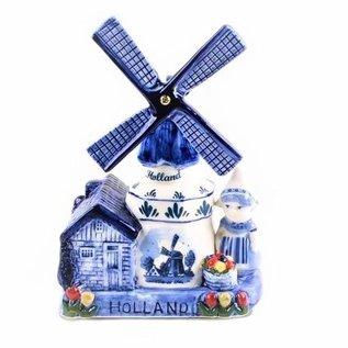 Music windmill farmer's delft blue Holland 16 cm