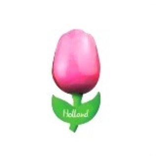 hölzerne Tulpe auf einem Magneten mit dem Text groß