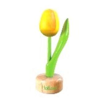 Hölzerne Tulpe zu Fuß mit kleinem Text in verschiedenen Farben