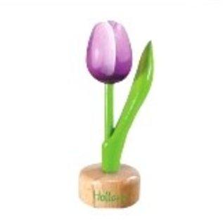 Hölzerne Tulpe zu Fuß mit großem Text in verschiedenen Farben