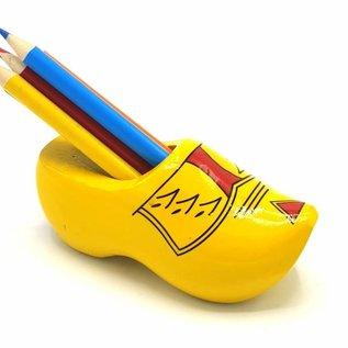 Clogspitzer gelb mit Streiffen mit Buntstiften