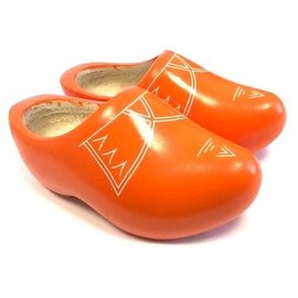 Orange children's wooden shoes with stripes