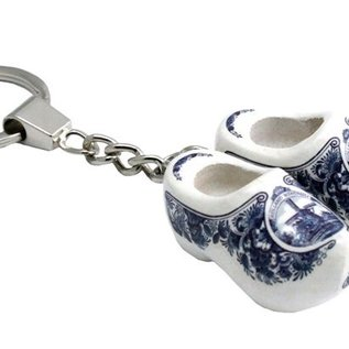 schlüsselanhänger 2 clogs 4 cm delfter blau
