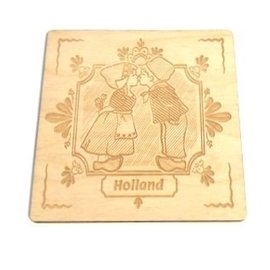wooden coasters kissing couple