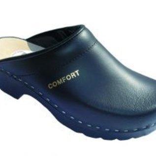 PU clog in black with open heel