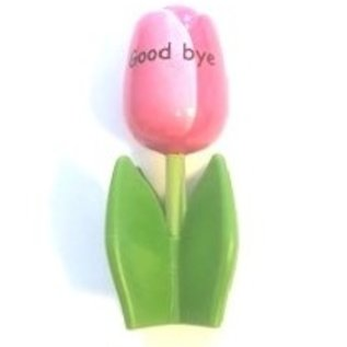 wooden tulip on a leaf with text in various colors