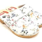 Ladies shoeclog white with flowers
