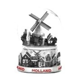 metal snow globe large with a village with windmill