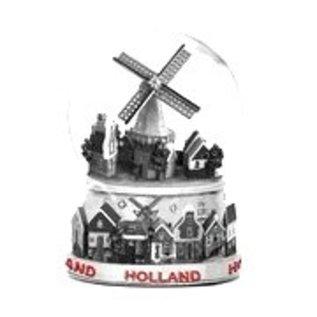 metalen sneeuwbol groot met beeld een dorpje met molen