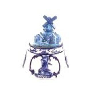 Kleine Schneekugel delft blau mit einem Dorf mit Windmühle