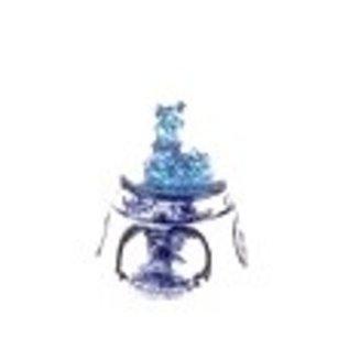 große schneekugel delfter blau mit einem dorf mit einer mühle