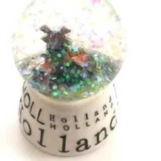 snow globe white small with a village with a mill