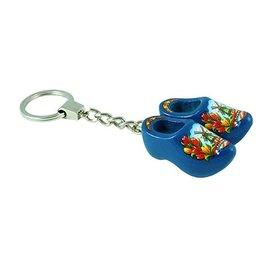 sleutelhanger 2 klompjes 4 cm blauw