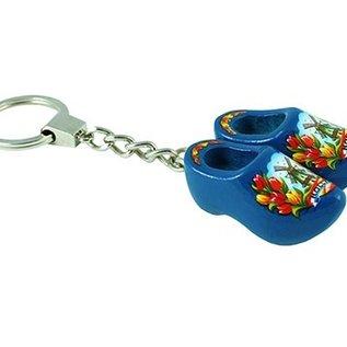 sleutelhanger met 2 klompjes van 4 cm in de kleur blauw