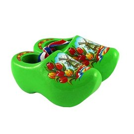 Souvenirs woodenshoes green with tulips and a windmill.