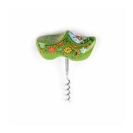 green souvenir clog designed as a corkscrew