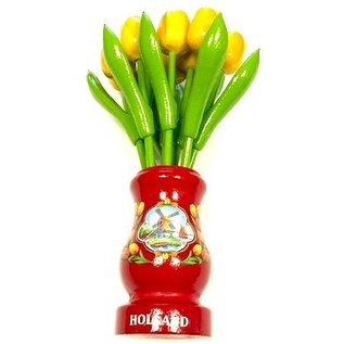 yellow wooden tulips in a red wooden vase