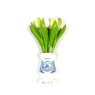 white wooden tulips in a white wooden vase