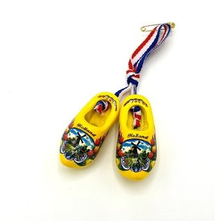 Brooch / corsage clogs yellow with windmill