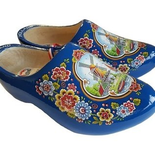 Blue wooden shoes with a windmill