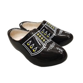 Black wooden shoes with white piping