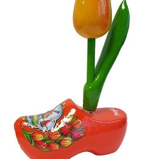 Wooden tulip on a wooden shoe with logo