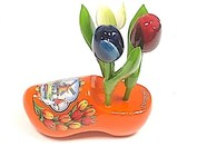 Wooden tulips on a clog