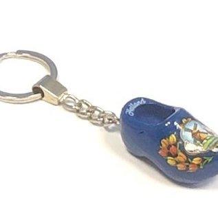 sleutelhanger klompje 4 cm blauw met molenmotief