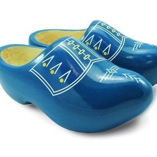 Blue children's clogs with white stripes