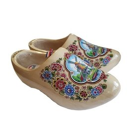 Transparent wooden shoes with a windmill