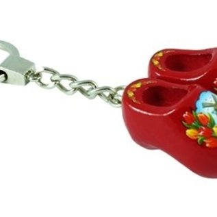 keychain with 2 clogs of 4 cm in the color red