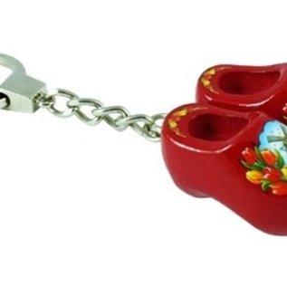 sleutelhanger met 2 klompjes van 4 cm in de kleur rood