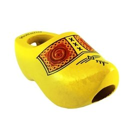 Yellow tie clogs with farmer's motif