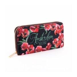 Portemonnee zwart met rode tulpen