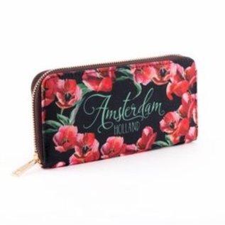 Brieftasche schwarz mit roten Tulpen